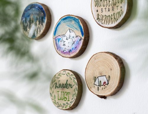 Outdoorillustrationen auf Holz